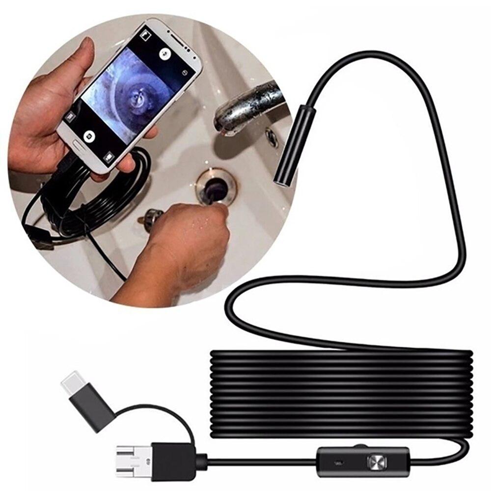 7 мм телефон Android промышленный эндоскоп Micro USB автомобильный бороскоп Type c инспекционная Гибкая камера для канализационной трубы