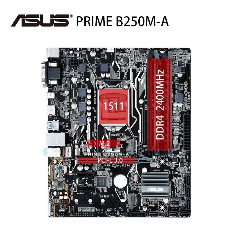 LGA 1151 Asus رئيس B250M-A اللوحة DDR4 2400MHz 64GB i7 i5 i3 PCI-E 3.0 HDMI-متوافق سطح المكتب B250 Mainboarad USB3.1 تستخدم