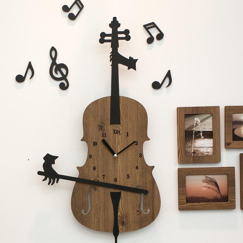Violín pared reloj pared grande reloj de madera de diseño moderno de...