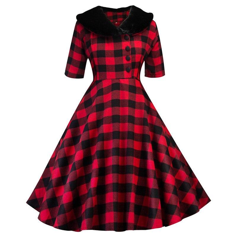 Otoño Invierno vestido de las mujeres Plaid Vintage Vestidos de fiesta 2020 Collar de piel de algodón Rockabilly media manga vestido Pin Up Vestidos