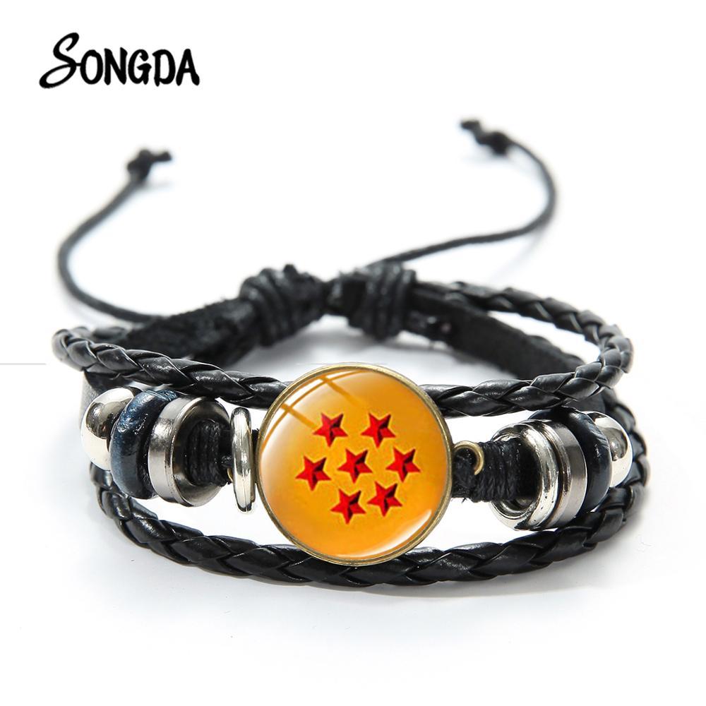 Offre spéciale Dragon Ball Bracelet en cuir Super Saiyan végéta Majin Goku troncs en verre Photo Anime Fans tissé Bracelet Bracelet