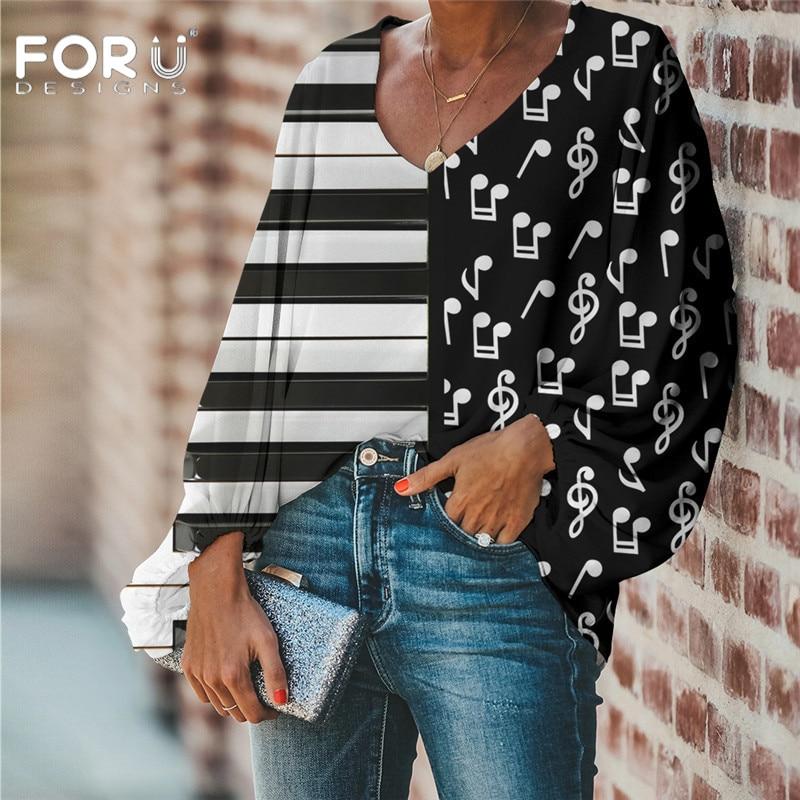 Forudiseñs blusa de mujer notas de música Teclado de Piano estampado 3D blusa 2020 Casual suelta camisa de manga larga Camisetas de gran tamaño con cuello en V