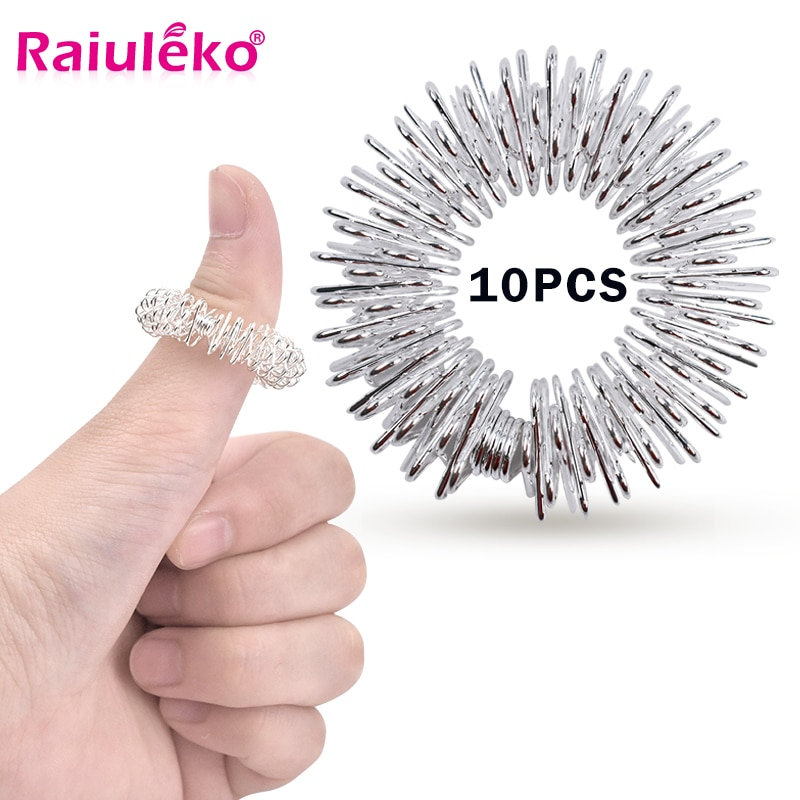 10pcs/Set Stainless Steel Finger Massage Ring Acupuncture Ring Therapy Relax Hand Blood Circulation