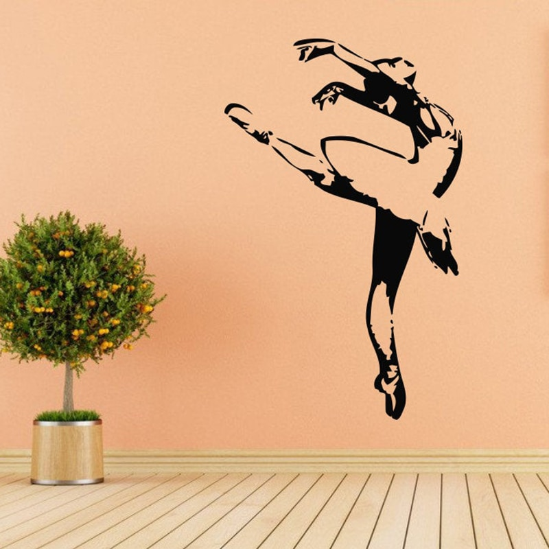 Pegatina de Ballet para la pared, tutú de ballet para niña, zapatos puntiagudos, calcomanía de ballet para pared escolar, vinilo para decoración de habitación interior, papel tapiz X539