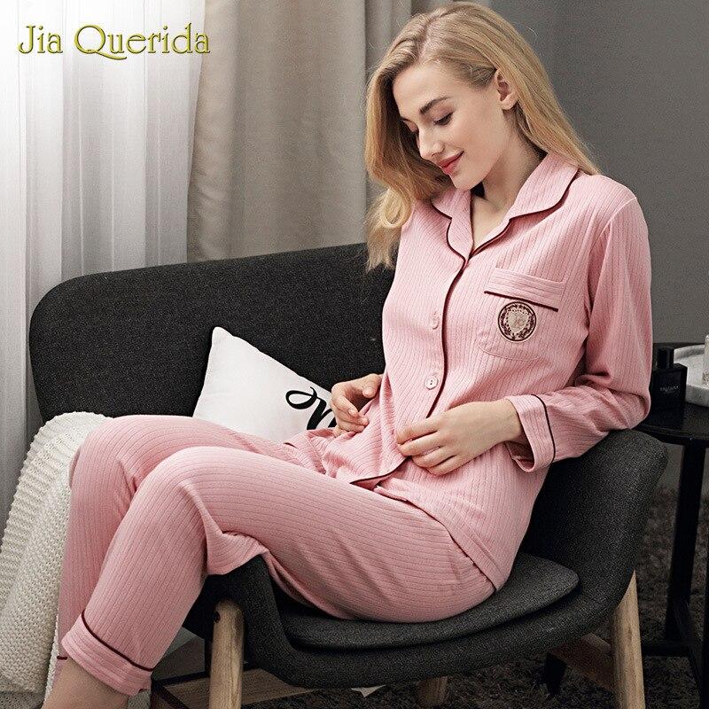 Nuevos conjuntos de pijama para mujer, Otoño Invierno, manga larga con solapa, cárdigan con botón, ropa de casa, 100% de algodón rosa, ropa de dormir minimalista para mujer