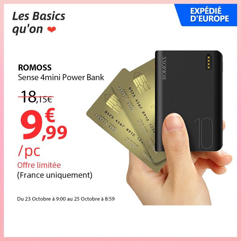 ROMOSS Sense4 Mini Power Bank 10000mAh Fast Charge Powerbank 10000mAh Portable External Battery Charger For iPhone 13 For Xiaomi