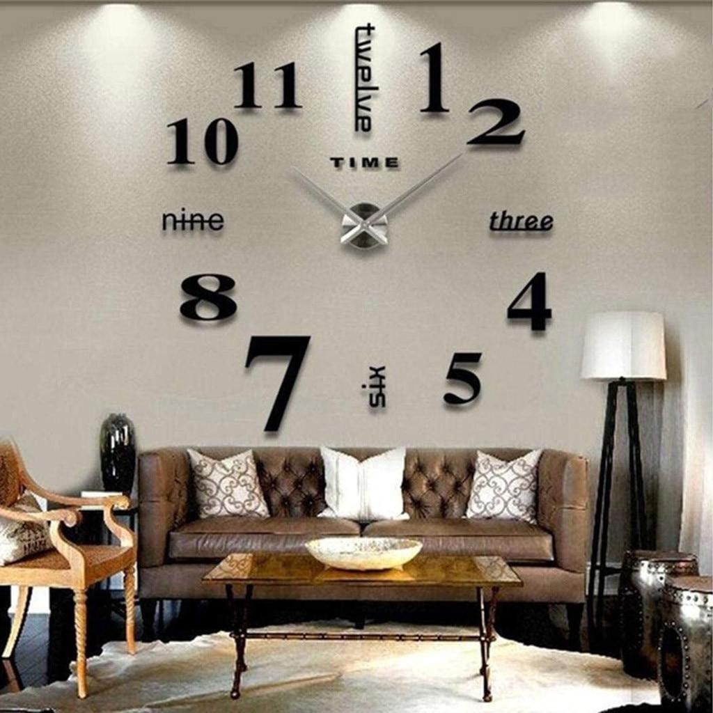 Light Acrylic Clock DIY Wall Mute Clock 3D Mirror Surface Sticker Home Office Decor Decorations New Home Office Kids Room Clocks