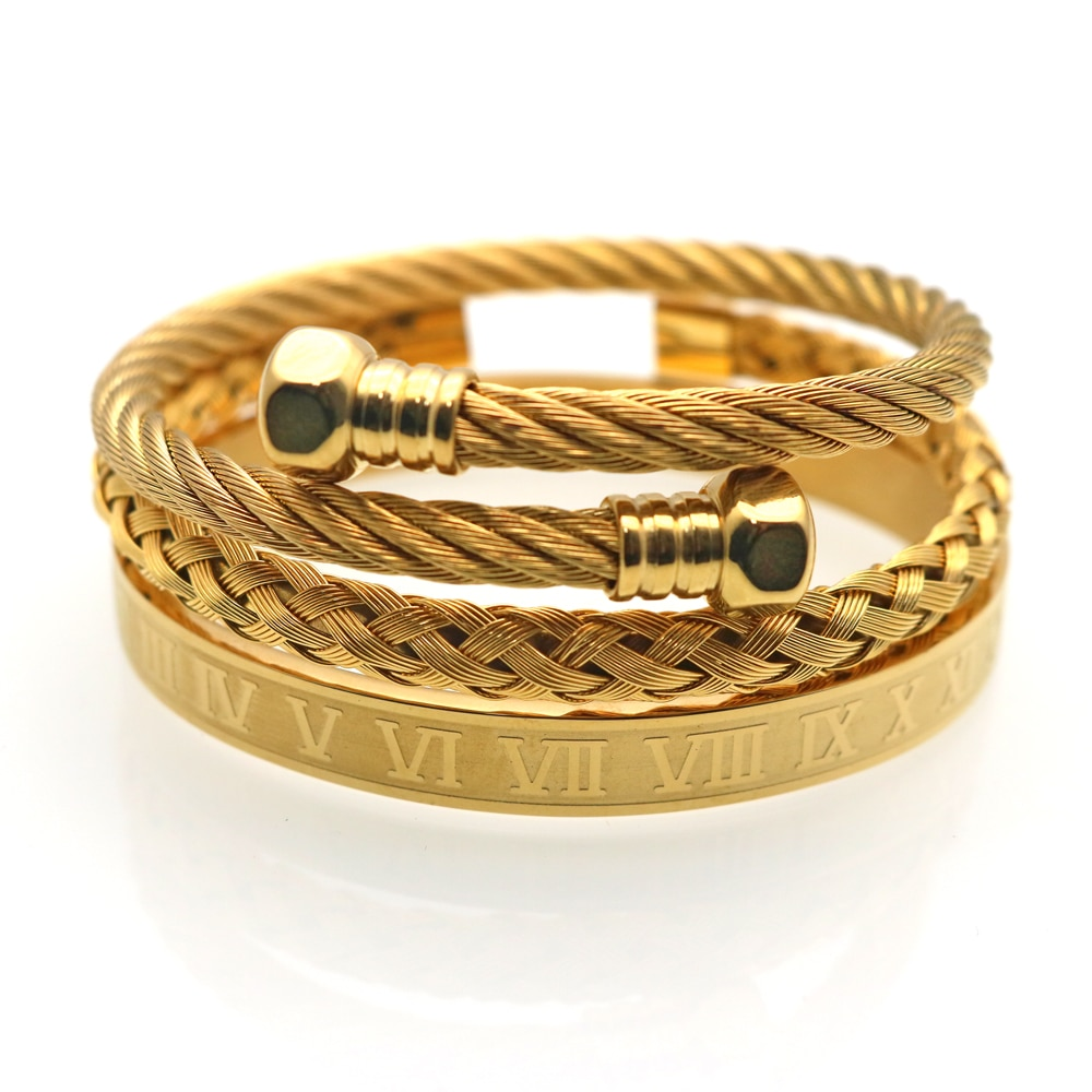 3pcs/set Royal Roman Bracelets & Bangles Hexagon Head Bangle Bracelet For Men Stainless Steel Men's Jewelry Pulseira