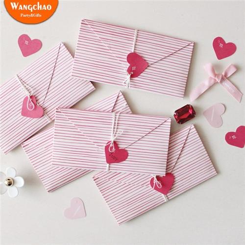 2 unids/bolsa DIY Mini corazón Rosa tarjeta de felicitación de cumpleaños carta de amor invitaciones de boda tarjeta de agradecimiento tarjetas de regalo del Día de San Valentín