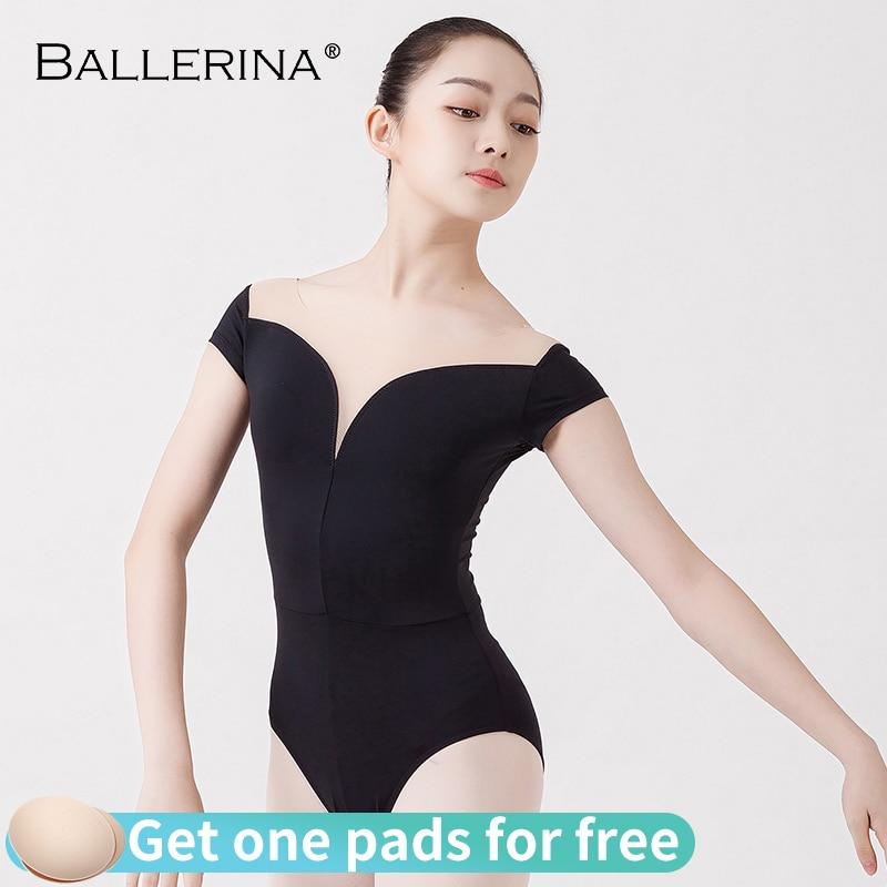 Leotardos de práctica de ballet para mujeres, traje de baile aerialista, leotardo de gimnasia de manga corta, bailarina adulta 5729