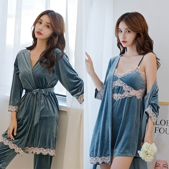jin si rong Seven-Piece Pajamas Female Spring and Autumn Nightgown Night Skirt Suit Long-Sleeved Pants Sexy with Breast Pad Home