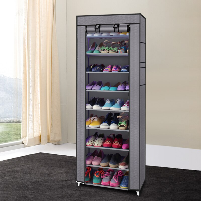 【US Warehouse】Fashionable Room-saving 9 Lattices Non-woven Fabric Shoe Rack Gray