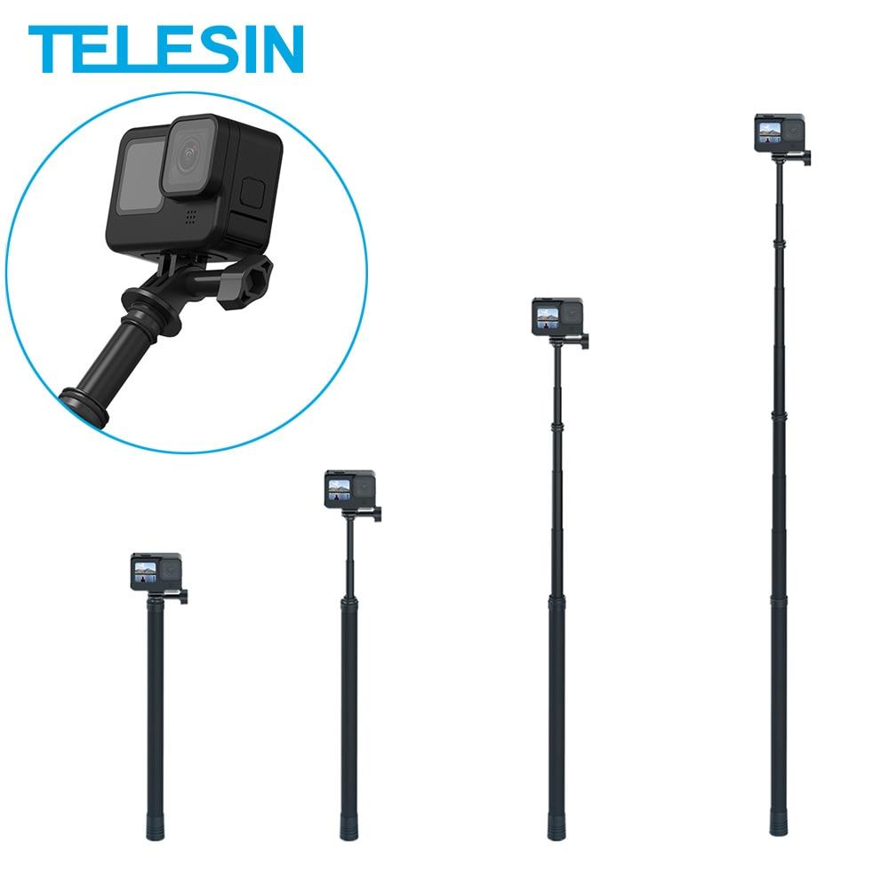 TELESIN 3M Selfie عصا الكربون الألياف Monopod قابل للتعديل طول 1/4 ثقب المسمار ل GoPro 10 9 8 7 6 5 Osmo عمل Insta360 Sjcam