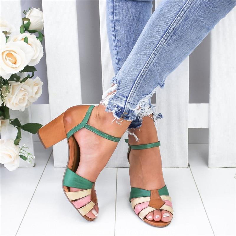 2020 nuevas Sandalias de tacón con correa Peep Toe Sandalias de tacón grueso Slip On Elastic Bandage elegantes Sandalias Zapatos