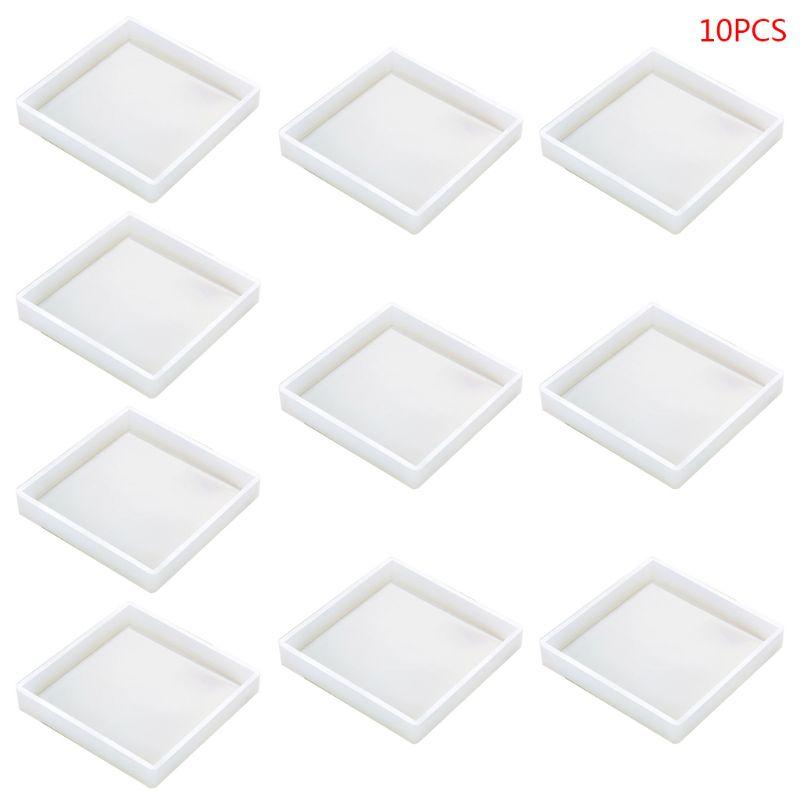 10 unids/set de moldes de silicona para posavasos, moldes de Epoxy transparentes para fundición con moldes geométricos de resina para hormigón