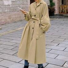 Women Trench Coat Autumn Japanese Korean New Windbreaker Long Office Lady Loose Outwear Gabardinas M