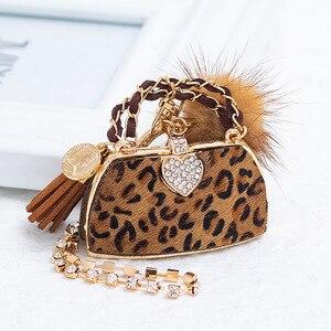 2020 New Luxury Leopard Print Mink Fur Ball Handbag Keychains For Women Bag Charm Pendant Fashion Keyrings Car Key Chain Ring