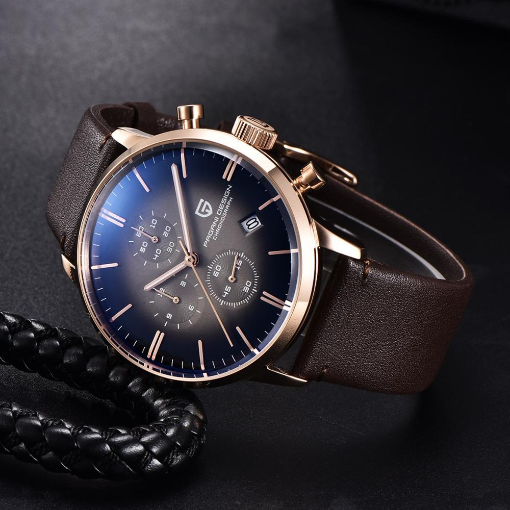 PAGANI DESIGN Men Watch Luxury Sports Waterproof Wristwatch Genuine Leather Japan VK67 Movement Quartz Watch Relogio Masculino enlarge