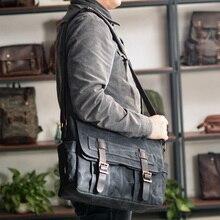 Neue Wachs Leinwand Spleißen Männer der Real-Leder Tasche Vintage männer Single-Schulter Tasche Mode Computer Messenger tasche