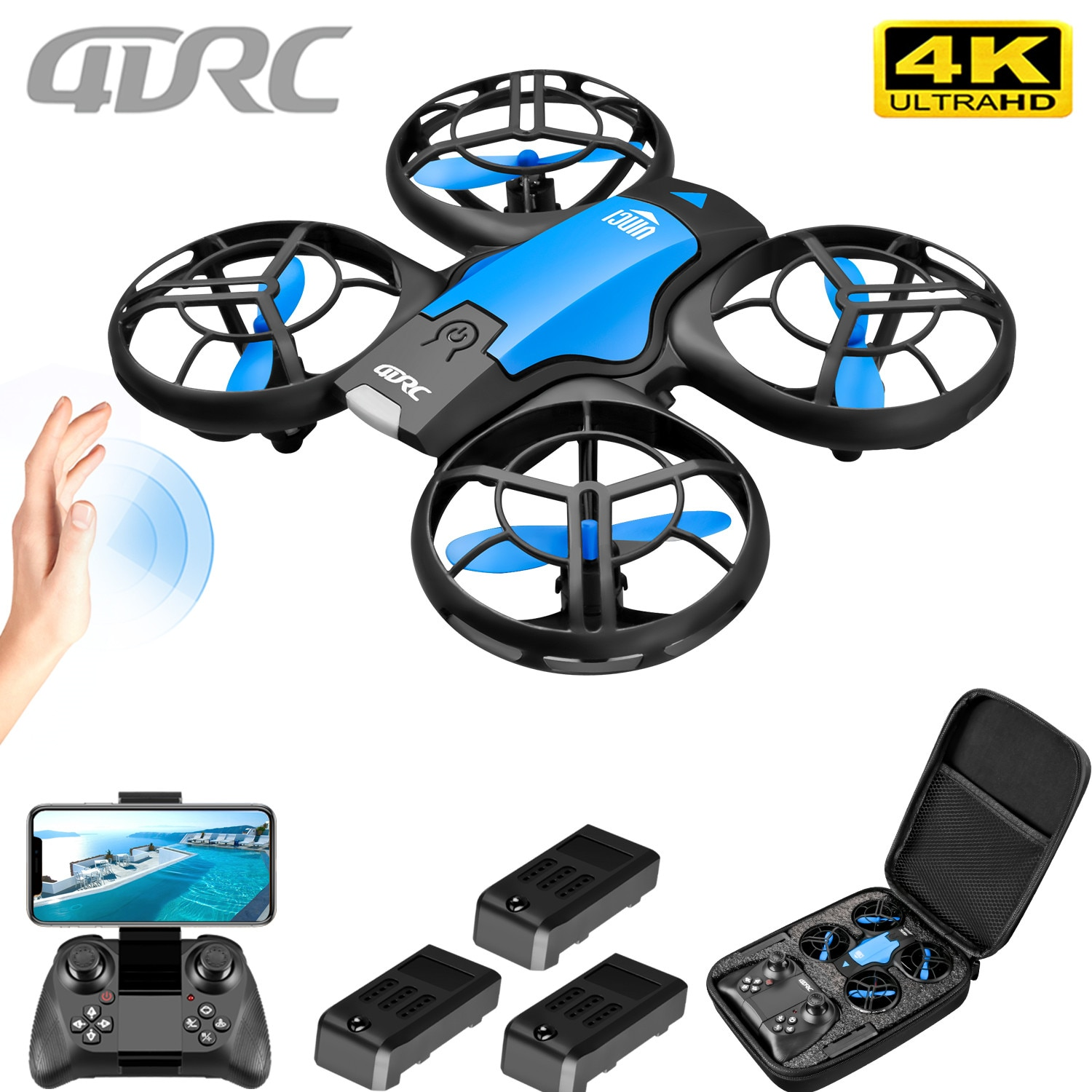 4DRC V8 New Mini Drone 4k profession HD Wide Angle Camera 1080P WiFi fpv Drone Camera Height Keep Drones Camera Helicopter Toys