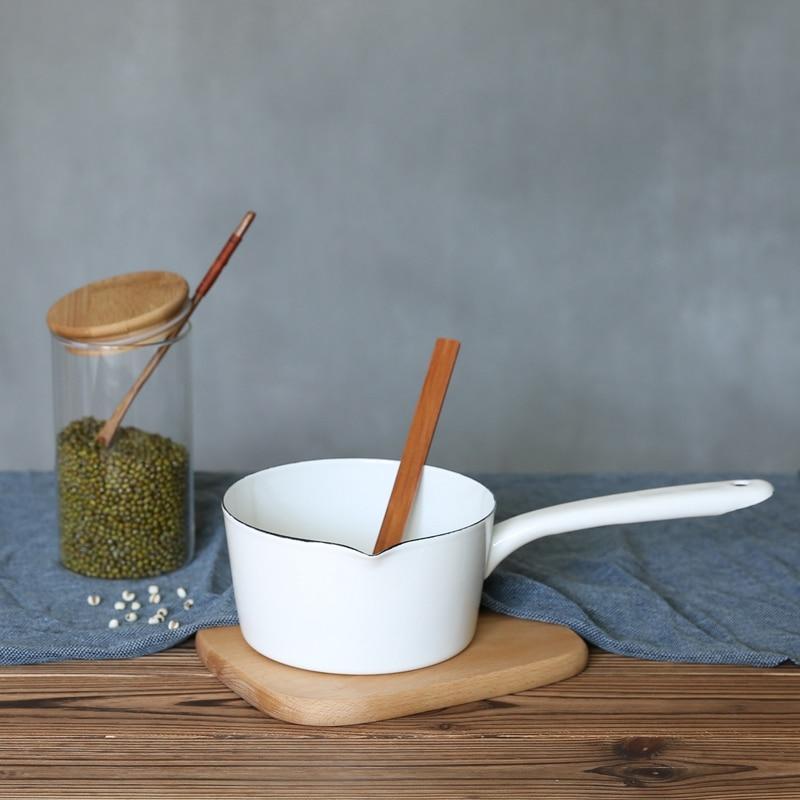 1.3L اليابانية نمط الأبيض السيراميك قدر للحليب (لبّانة) المطبخ وعاء طبخ وعاء Stewpan أغذية مقلاة مع مقبض طويل ل شعب واحد