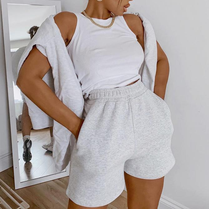 Women Casual Sports Shorts Solid Color Elastic Waist Wide Leg Shorts with Slant Pockets Female Tracksuit Workout Bottoms Shorts