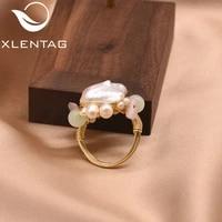 xlentag handmade original natural pink baroque pearl green stone ring for women wedding engagement wedding fine jewellery gr0233