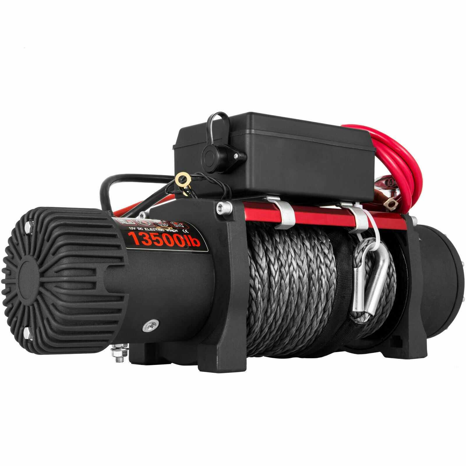 Electric Rope Winch 12v Traction 6123.5kg Line 13500lbs 5kw Sleeve Boat