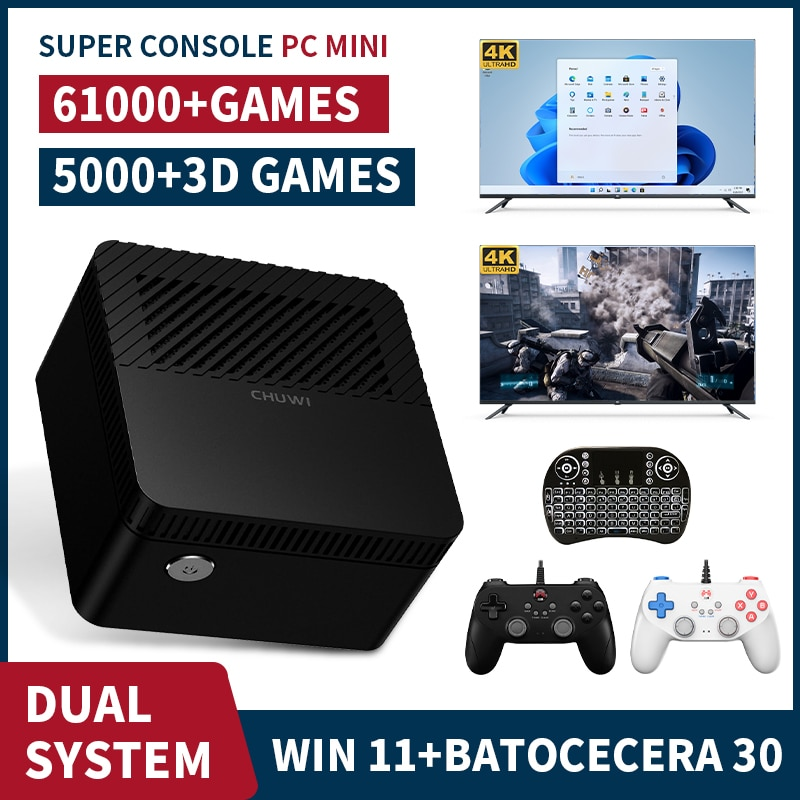 Review Game Box Chuwi Super Console X PC Mini Win 11 Home + Batocera 30 2T HDD Video Game Console For SS/PS2/PSP Built-in 61000+ Games