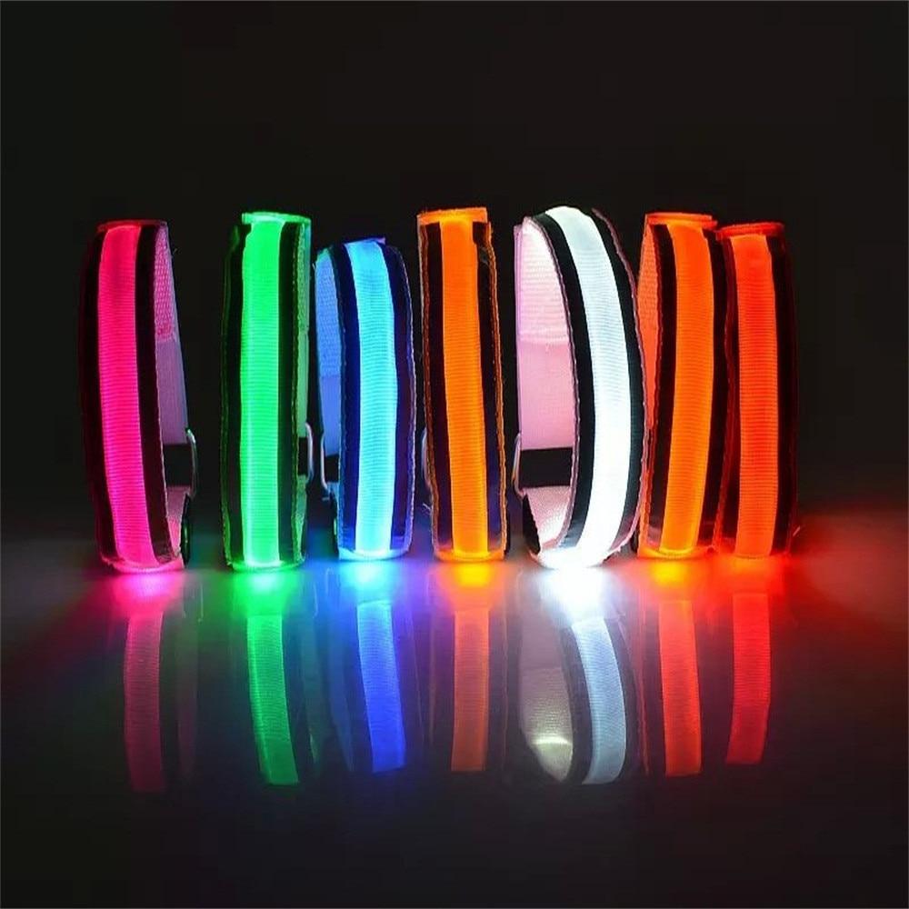 Brazalete reflectante de 7 colores con luz LED, correa para brazo, cinturón de seguridad para correr Cycling1PC de noche, brazalete reflectante de nailon LED