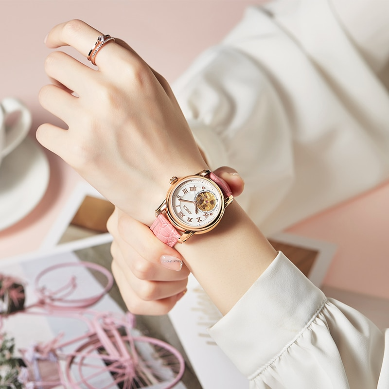 AMICA Fashion Women Simple Concise Watches Casual Ladies Leather Mechanics Watch Clocks Watch Reloj De Mujer enlarge