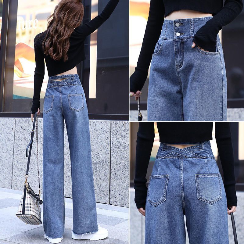 wide leg jeans for women blue loose pants high waist casual large size straight pants boyfriend straight mom jeans streetwear Wide leg Jeans For Women Blue Loose Pants High Waist Casual large size straight pants Boyfriend Straight Mom Jeans Streetwear