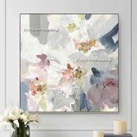 Peinture a lhuile abstraite de belle fleur coloree peinte a la main  peinture sur toile abstraite pour decoration de maison  qualite superieure  100