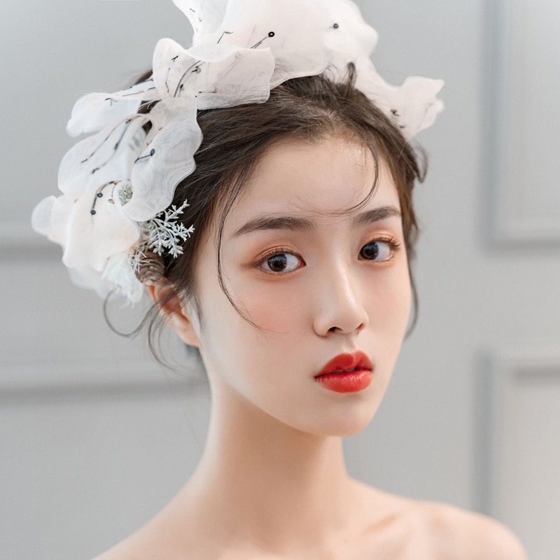 Moda floral headwear tecido luz rosa flores fadas casamento modelo de noiva mostrar estúdio foto shoot decoração acessórios para o cabelo