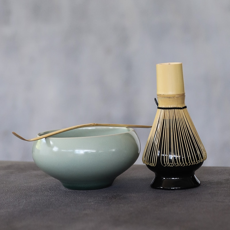 LUWU ماتشا-مجموعة أدوات الشاي اليابانية التقليدية ، وعاء ماتشا احتفالي ، حامل خفقت