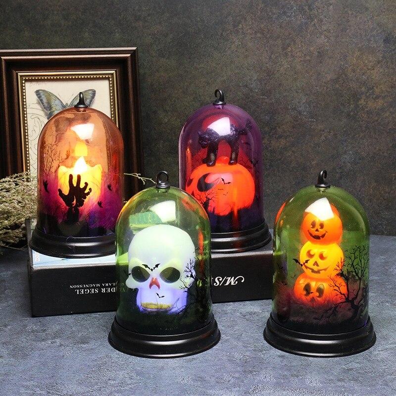 Bruxa da Abóbora de Halloween Decoração Luz da Noite do DIODO EMISSOR de Luz Fantasma Gato Padrão Descoloração Lâmpada Férias Decorações Do Partido Suprimentos