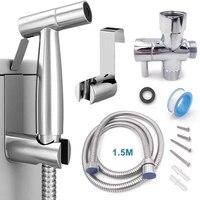 Pulverisateur a main en acier inoxydable  kit de pulverisation de bidet  a main en acier inoxydable pour salle de bains  pomme de douche  auto-nettoyage
