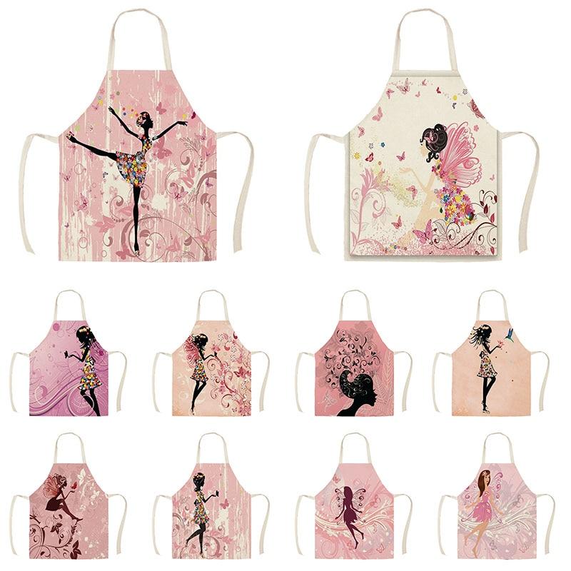 Utensilios de limpieza para el hogar delantal de cocina dibujos animados mariposa flor niña impreso algodón Lino mujeres sin mangas delantales de cocina WQI849