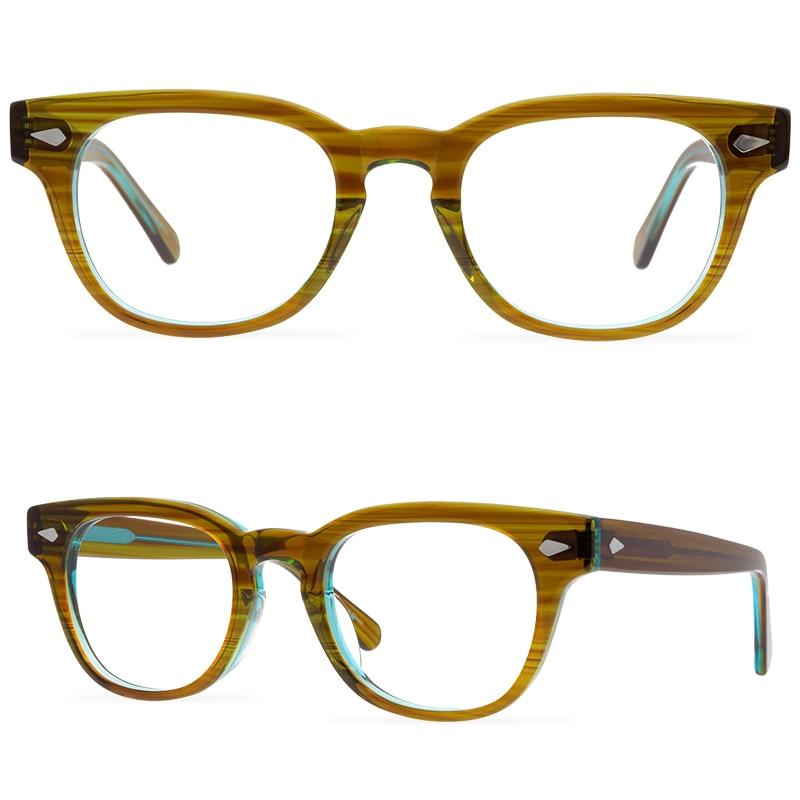 نظارات مستديرة مربعة محايدة ريترو نظارات بمادة الخلات إطار نظارات شفافة