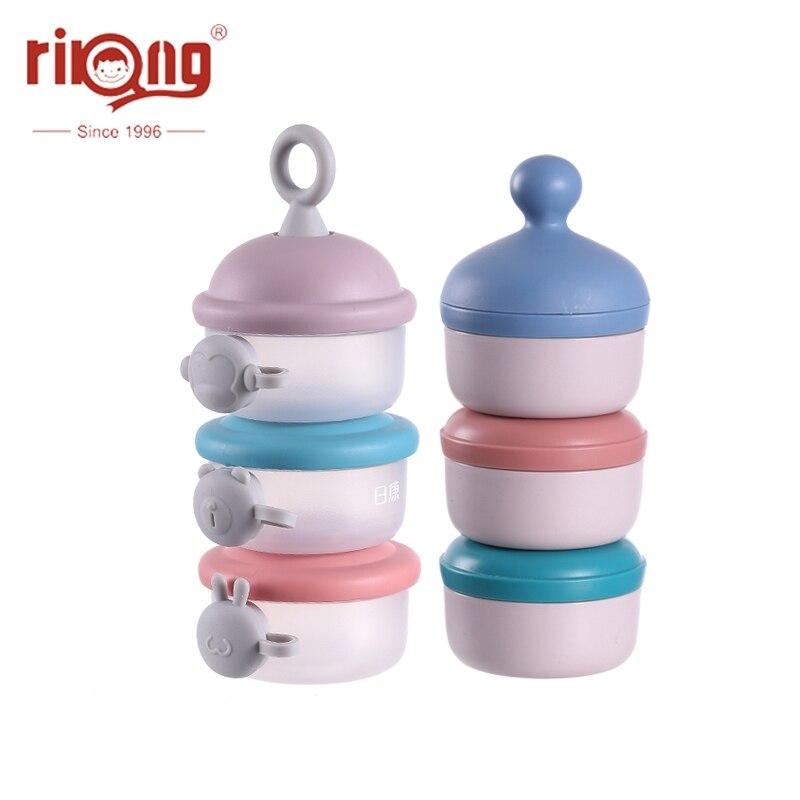 Rikang bebê caixa de cereais leite recipiente alimentação infantil fórmula caixa de alimentos crianças portátil 3 camada leite em pó do bebê dispensador