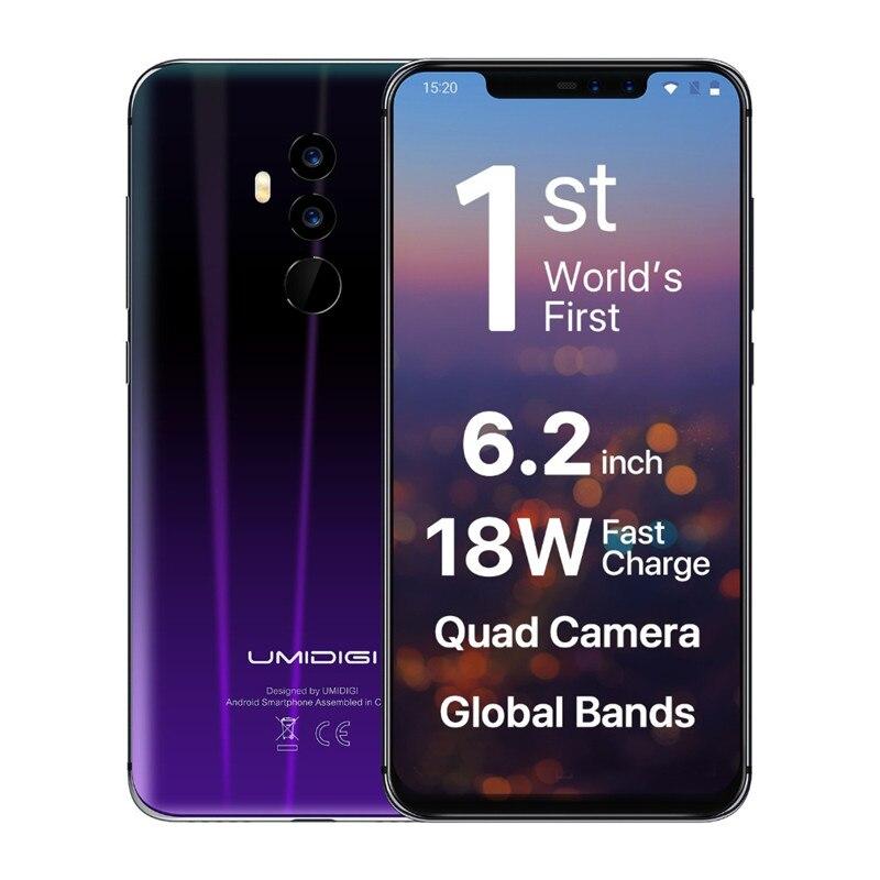 В наличии UMIDIGI Z2 6 ГБ 64 Гб Helio P23 смартфон MT6763 Octa Core 16MP четыре камеры 4 аппарат не привязан к оператору сотовой связи 6,2 дюйм Android 8,1 мобильный телефон