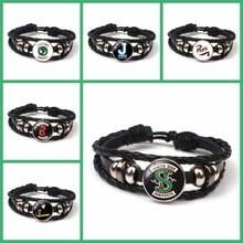 CHAUD! Nouveauté Bracelet Riverdale en cuir bijoux Riverdale dôme en verre rotatif noir Bracelet pour hommes cadeau Fans Souvenir bricolage