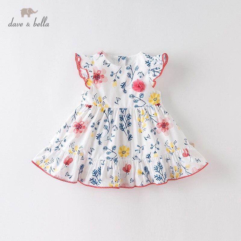 Dba12555 dave bella verão da menina do bebê bonito floral impressão apliques vestido crianças moda vestido de festa infantil lolita roupas