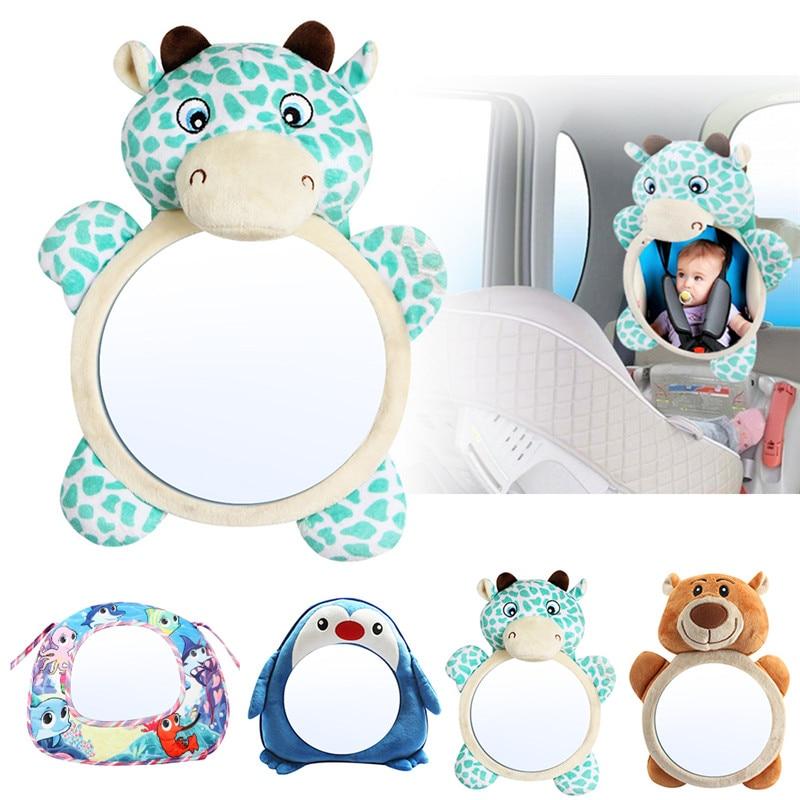 Cartoon Plush Bear Baby Rear Facing Mirror Adjustable Car Baby Mirror Safety Car Back Seat View Mirror For Kids Children Toddler