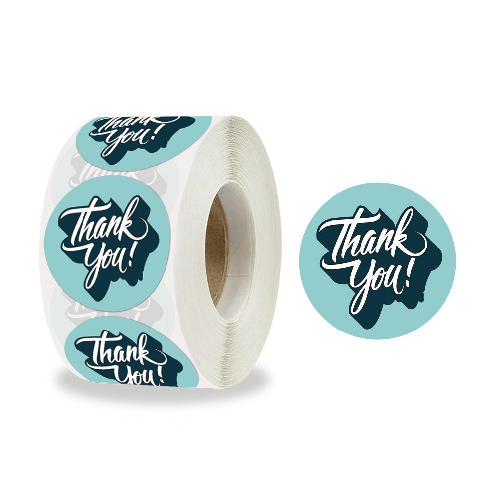 1.5 Inch 500 Pcs/Roll Fashion Thank You Labels for Baking Gift Cards, Parties, Wrapping Stickers, Small Business