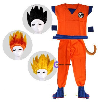 Holiday Suits Son Goku Carnival anime Cosplay Costumes Top/Pant/Belt/Tail/wrister/Wig For Adult Kids