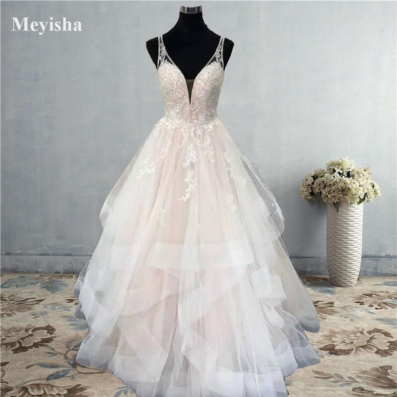 فستان زفاف ZJ9204 2020 2021 مع تنورة مكشكشة من الدانتيل, بظهر مكشوف وفتحة رقبة على شكل V متعددة المستويات ، مصنوع حسب الطلب