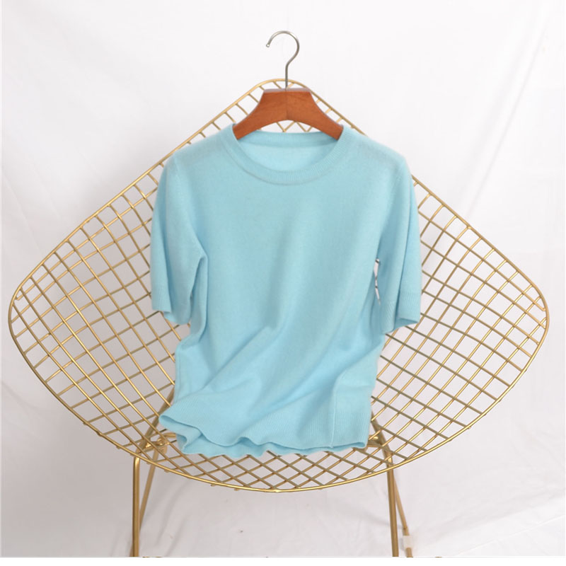 Tailor Shop Custom Made Cashmere Women's Soft Skin-friendly Close-fitting Half-sleeve Bottoming Shirt enlarge