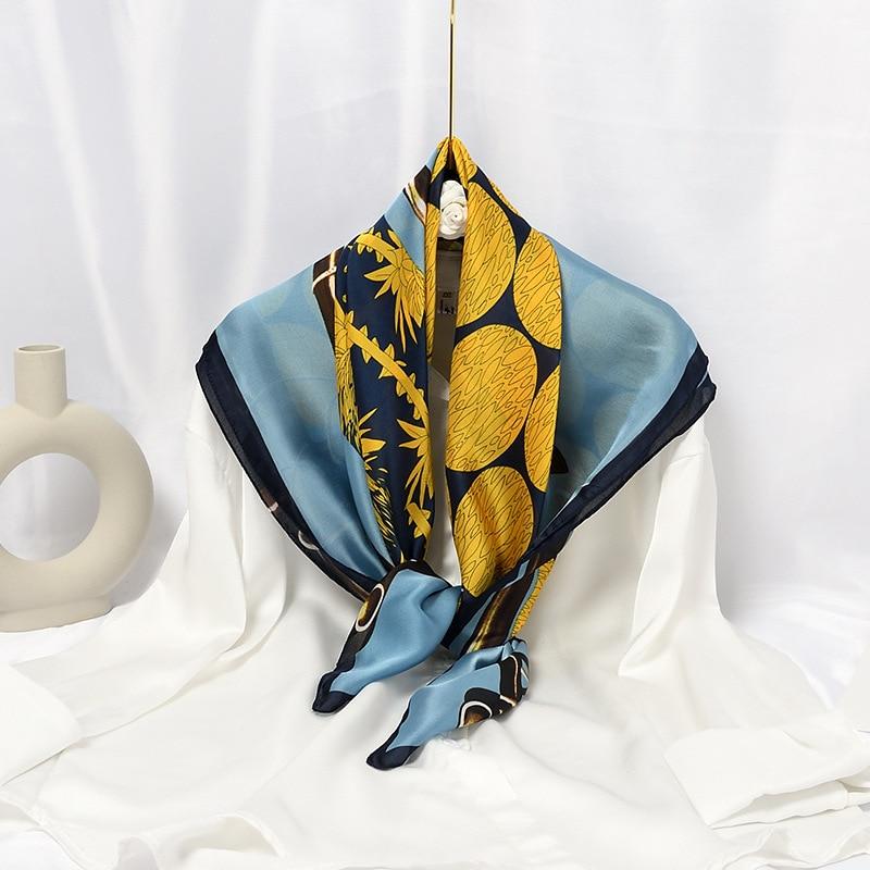 Spring New Imitation Silk Scarf Female Blue and White Porcelain Wave Dot Blue 90CM Square Scarf Satin Silk Scarf Customization