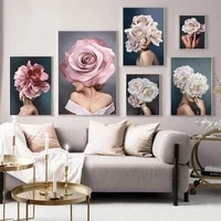 personality fashion abstract woman print pink white flower lady poster canvas art painting wall picture modern living room decor